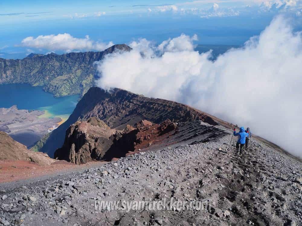 Trek down from summit