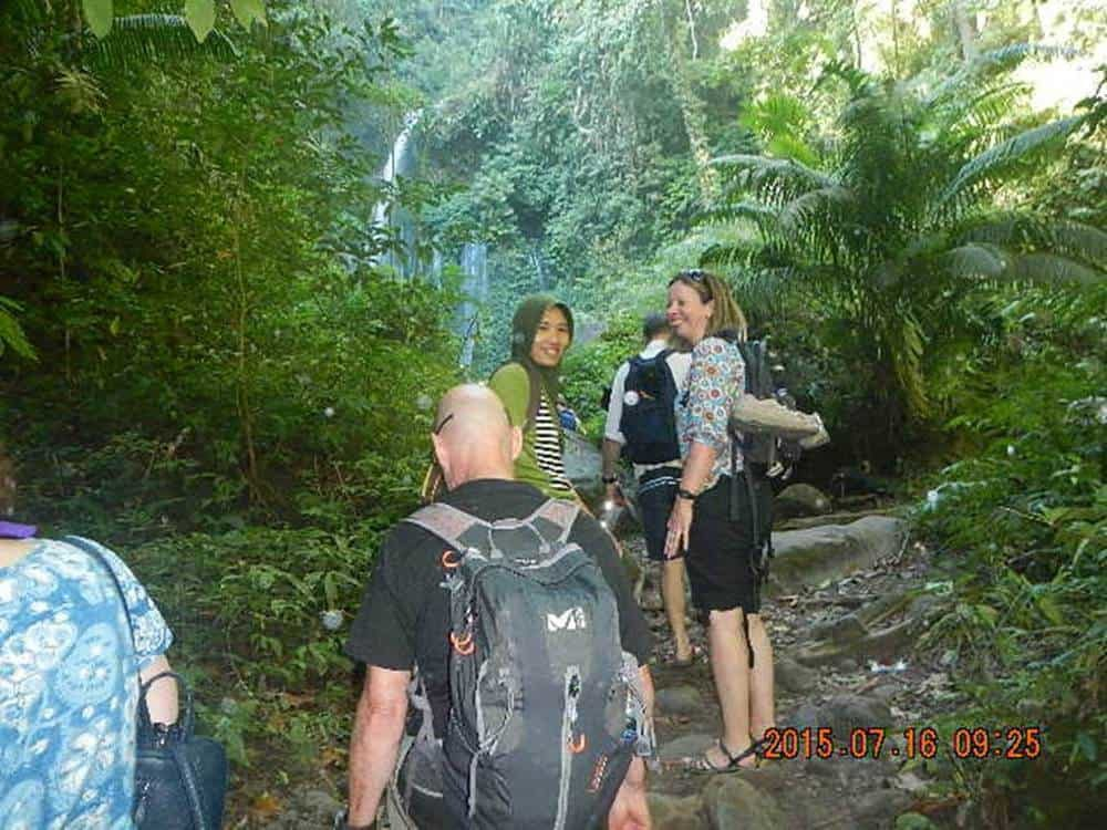 trek to waterfall